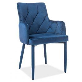 Casarredo Jídelní čalouněná židle RICARDO VELVET modrá Židle do kuchyně