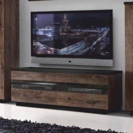 Tempo Kondela Televizní stůl BARBO TYP 1 - dub tmavý/černá