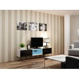Cama Televizní stolek VIGO Glass 180 - bílá/černá