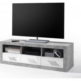 Tempo Kondela Televizní stolek SLONE 6 - dekor beton / bílá lesk