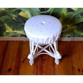 Forclaire Proutěný taburet malý - pudrově růžový + kupón KONDELA10 na okamžitou slevu 10% (kupón uplatníte v košíku)