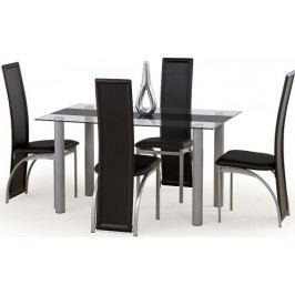 Halmar Jídelní stůl Talon čiré sklo + černý pruh + kupón KONDELA10 na okamžitou slevu 10% (kupón uplatníte v košíku)