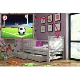 Vomaks Dětská postel s výsuvnou přistýlkou DPV 005 - 15 Fotbalové hřiště + zásuvky 200 cm x 90 cm Barva bílá + kupón KONDELA10 na okamžitou slevu 10% (kupón uplatníte v košíku)