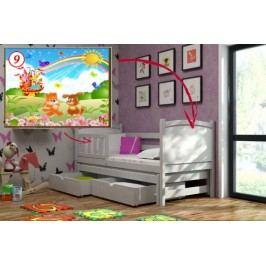 Vomaks Dětská postel s výsuvnou přistýlkou DPV 005 - 09 Duhový zámek KOMPLET 200 cm x 90 cm Barva bílá + kupón KONDELA10 na okamžitou slevu 10% (kupón uplatníte v košíku)