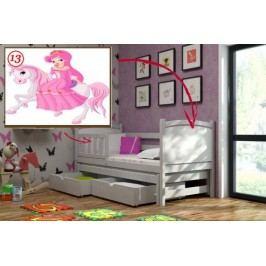 Vomaks Dětská postel s výsuvnou přistýlkou DPV 005 - 13 Princezna na koni + zásuvky 200 cm x 90 cm Barva bílá + kupón KONDELA10 na okamžitou slevu 10% (kupón uplatníte v košíku)