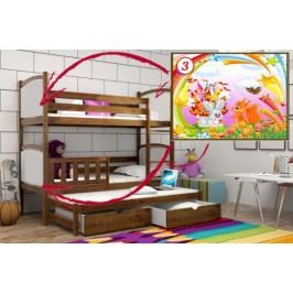 Vomaks Patrová postel s výsuvnou přistýlkou PPV 005 - 03 Veverka a králík KOMPLET 200 cm x 90 cm Barva bílá + kupón KONDELA10 na okamžitou slevu 10% (kupón uplatníte v košíku)