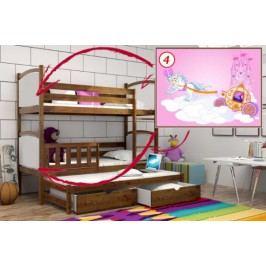 Vomaks Patrová postel s výsuvnou přistýlkou PPV 005 - 04 Kočár 200 cm x 90 cm Barva bílá + kupón KONDELA10 na okamžitou slevu 10% (kupón uplatníte v košíku)