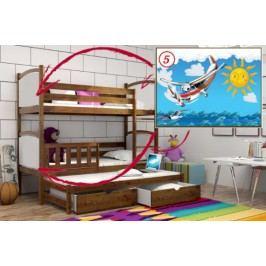 Vomaks Patrová postel s výsuvnou přistýlkou PPV 005 - 05 Letadlo + zásuvky 200 cm x 90 cm Barva bílá + kupón KONDELA10 na okamžitou slevu 10% (kupón uplatníte v košíku)