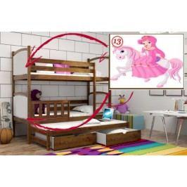 Vomaks Patrová postel s výsuvnou přistýlkou PPV 005 - 13 Princezna na koni + zásuvky 200 cm x 90 cm Barva bílá + kupón KONDELA10 na okamžitou slevu 10% (kupón uplatníte v košíku)