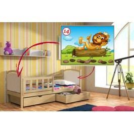 Vomaks Dětská postel DP 013 - 14 Lev + zásuvky 200 cm x 90 cm Barva bílá + kupón KONDELA10 na okamžitou slevu 10% (kupón uplatníte v košíku)