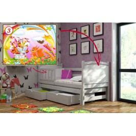 Vomaks Dětská postel s výsuvnou přistýlkou DPV 005 - 03 Veverka a králík + zásuvky 200 cm x 90 cm Barva bílá + kupón KONDELA10 na okamžitou slevu 10% (kupón uplatníte v košíku)
