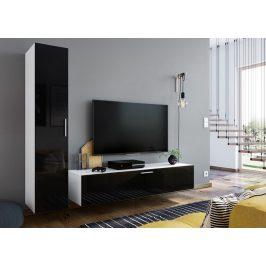 Casarredo Obývací stěna OREGANO bílá/černý lesk