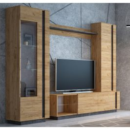 Casarredo Obývací stěna ARCHI II dub kraft zlatý/tmavý kámen