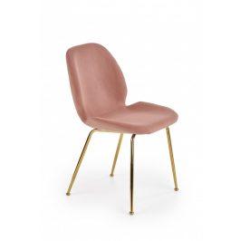 Halmar Jídelní židle K381 - růžová/zlatá Židle do kuchyně