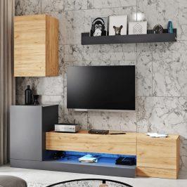 Tempo Kondela Obývací stěna DULA, šedý antracit/dub wotan Obývací stěny