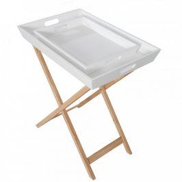 Tempo Kondela Servírovací stolek NORGE, bílá/přírodní