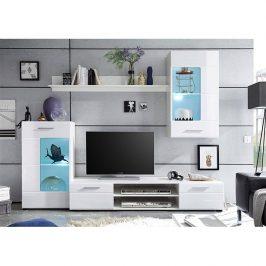 Tempo Kondela Obývací stěna HENRI NEW - bílá extra vysoký lesk high gloss/bílá