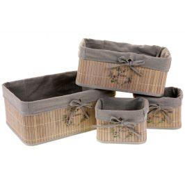 Autronic Sada 4 kusů bambusových košíků KD4444