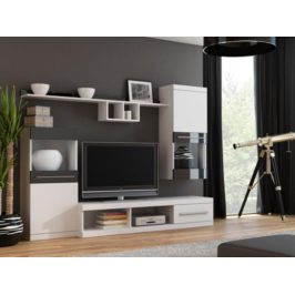 Cama Obývací stěna NICK - bílá/bílá/černá