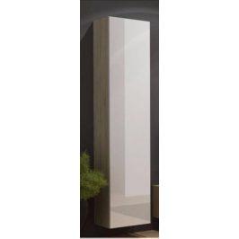 Cama Vitrína VIGO vysoká, plná - dub Sonoma/bílý
