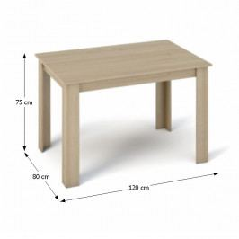 Tempo Kondela Jídelní stůl KRAZ 120x80 - dub sonoma