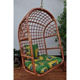 Axin Trading Závěsná houpačka ratanová koňak XL polstr zelený dralon