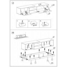 Cama Televizní stolek Sigma 1A - bílá+černá/černá+bílá