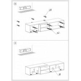 Cama Televizní stolek Sigma 1C - dub sonoma+černá/dub sonoma+černá