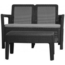 Rojaplast set TARIFA SOFA+TABLE grafit+šedé podušky