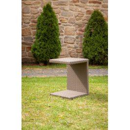 Dimenza Zahradní ratanový odkládací stolek k lehátkům -světle hnědý