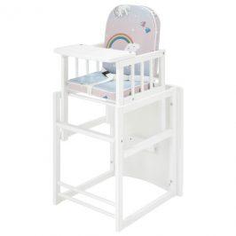 Sconto Dětská kombinovaná židle SARAN bílá, motiv jednorožci
