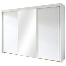 Sconto Šatní skříň KING bílá, 280 cm, 1 zrcadlo