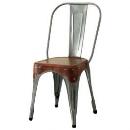 Sconto Jídelní židle IRON železo almond/hnědý kožený potah