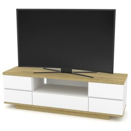 Sconto TV stolek DORIAN 2 dub riviera/bílá lesklá Stolky pod TV