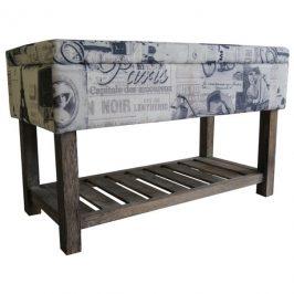 Sconto Úložný taburet PARIS 001 krémová s potiskem/hnědá