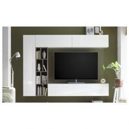 Sconto Obývací stěna NEW VISION 7 dub ribbeck/bílá vysoký lesk Obývací stěny