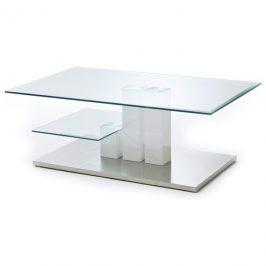 Sconto Konferenční stolek GAVIN sklo/bílá