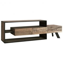 Sconto TV stolek CITY přírodní akácie/šedá