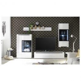 Sconto Obývací stěna THOR bílá vysoký lesk Obývací stěny