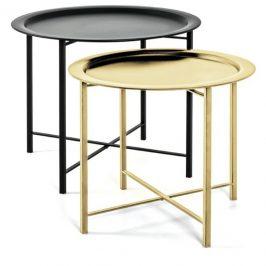 Sconto Přístavné stolky FABIOLA černá/zlatá, 2 kusy