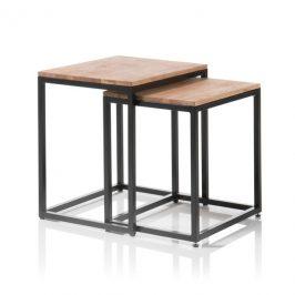 Sconto Set konferenčních stolků AVERY dub/černá, 2 ks