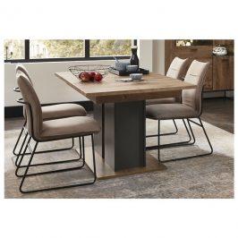 Sconto Jídelní stůl MANHATTAN dub cognac/černý kov
