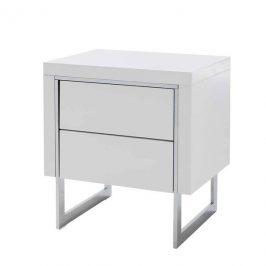 Sconto Noční stolek BRADLEY bílá vysoký lesk/stříbrná