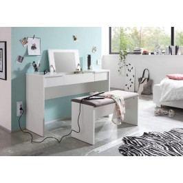 Sconto Toaletní stolek s lavicí LIPSTICK bílá