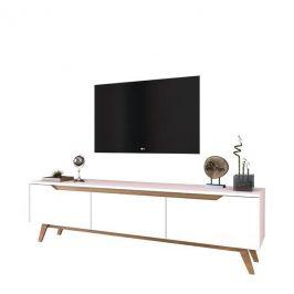 Sconto TV stolek QUINN bílá/světlý ořech