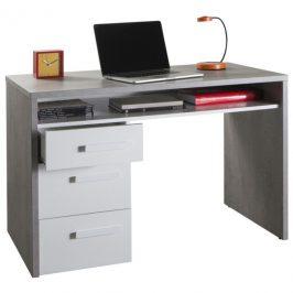 Sconto Psací stůl BELLE beton/bílá vysoký lesk