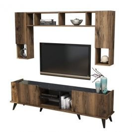 Sconto TV sestava ELEGANTE II ořech/černá Obývací stěny