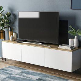 Sconto TV stolek NEON bílá/dub