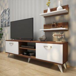Sconto TV stěna AVA II bílá/ořech