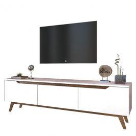 Sconto TV stolek QUINN bílá/tmavý ořech